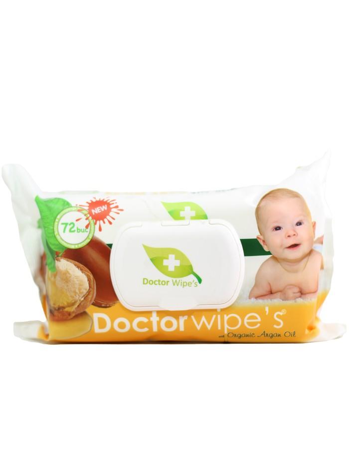 Dr. Wipe's Servetele umede baby cu capac 72 buc Argan Oil imagine produs