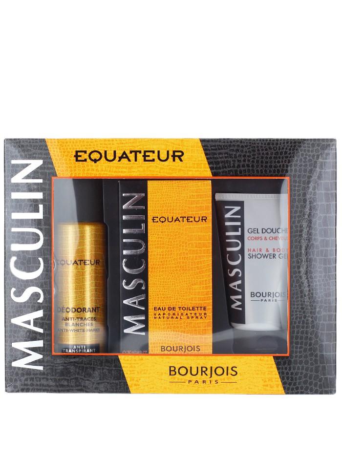 Bourjois Caseta barbati:Parfum+Spray deodorant+Gel de dus 100+200+150 ml Equateur