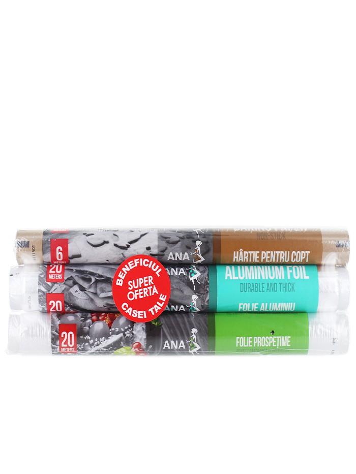Anna Pachet:Folie de aluminiu+Folie alimentara+Hartie copt 20+20+6 m imagine produs