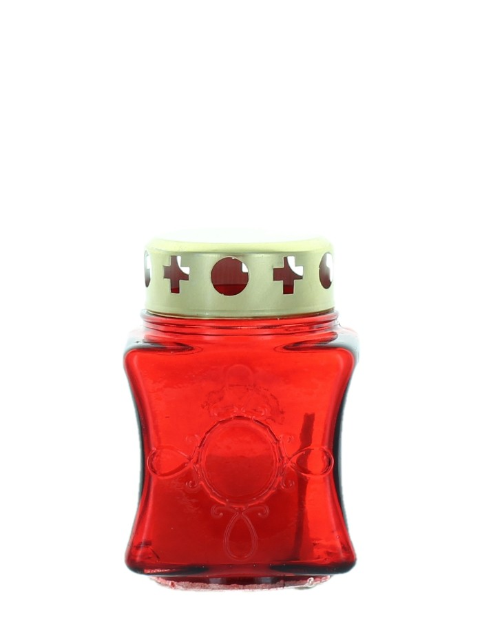 Candela sticla rosie cu capac 140 R 10 ore imagine produs