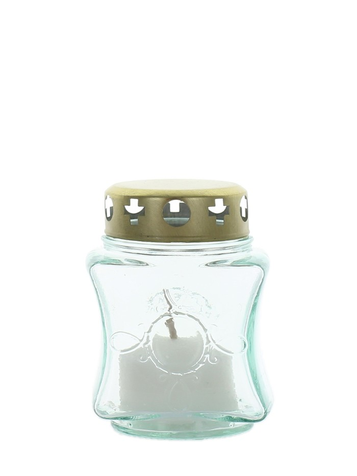 Candela sticla alba cu capac 140 A-10 ore imagine produs
