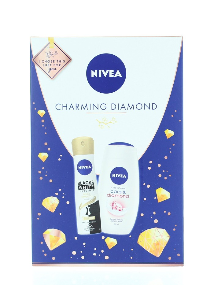 Nivea Caseta femei:Gel de dus+Spray deodorant 250+150 ml Charming Diamond imagine produs