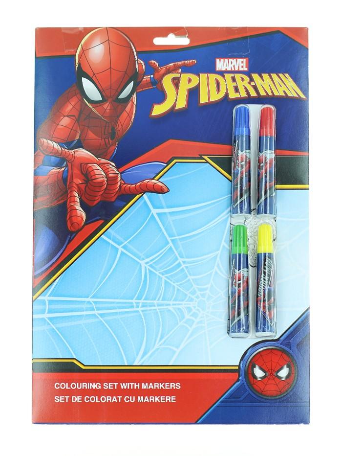 Marvel Set de colorat cu markere 4 foi de colorat+4 markere Spider-Man imagine produs