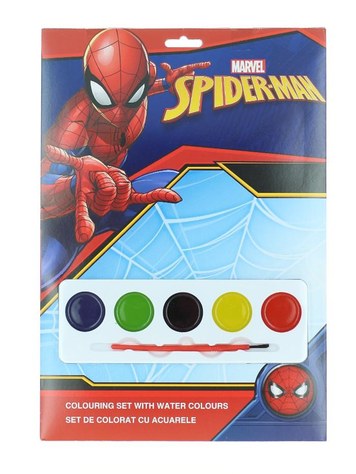 Marvel Set de colorat cu acuarele 4 foi de colorat+5 acuarele+pensula Spider-Man imagine produs
