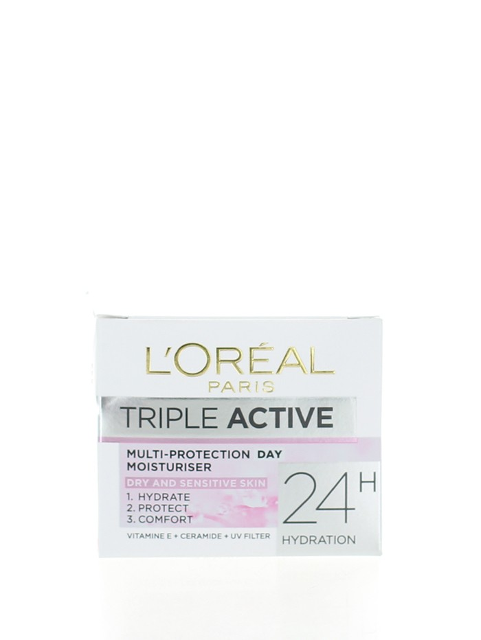 L'oreal Crema de fata hidratanta 50 ml Triple Active Dry&Sensitive imagine produs