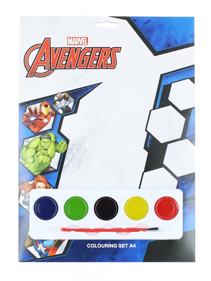 Marvel Set de colorat cu acuarele 4 foi de colorat+5 acuarele+pensula Avengers imagine produs