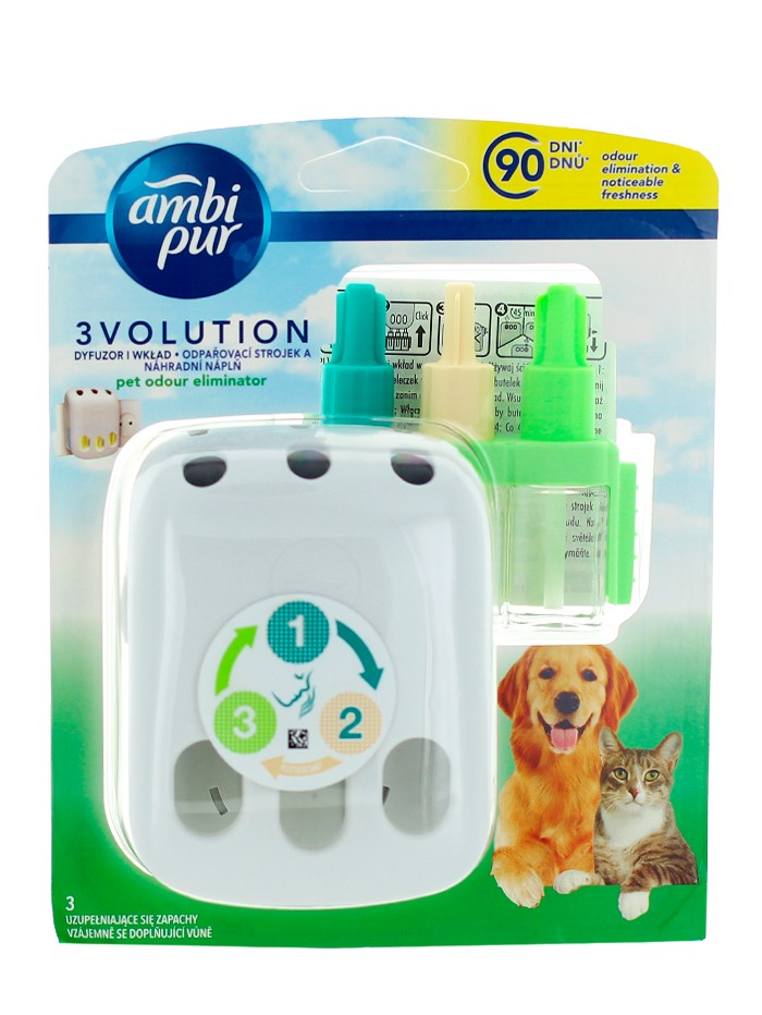 Ambi Pur Aparat odorizant camera priza+Rezerva 3Volution20 ml Pet Odour Eliminator imagine produs