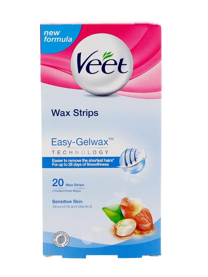 Veet Benzi depilatoare cu ceara 20 buc Easy-Gelwax Sensitive Skin imagine produs