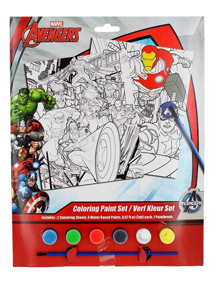Marvel Set de colorat cu acuarele 2 foi de colorat+6 acuarele+pensula Avengers imagine produs