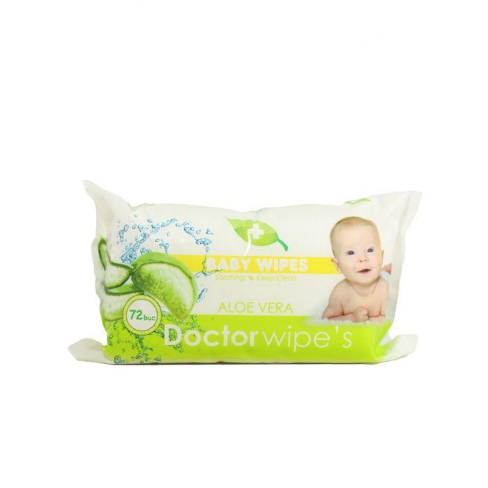 Dr. Wipe's Servetele umede baby 72 buc fara capac Aloe Vera