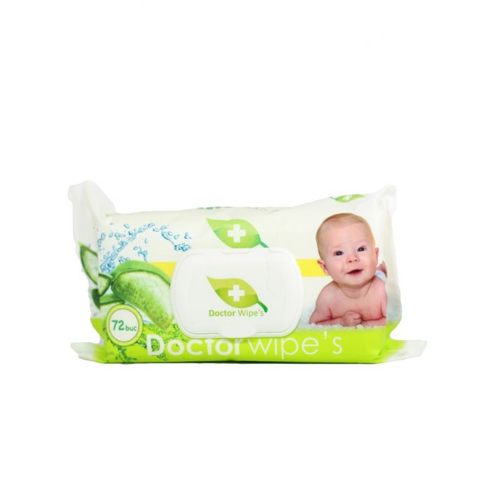 Dr. Wipe's Servetele umede baby cu capac 72 buc Aloe Vera