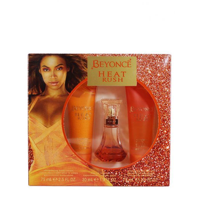 Beyonce Caseta femei:Lotiune de corp+Parfum+Gel de dus 75+30+75 ml Heat Rush