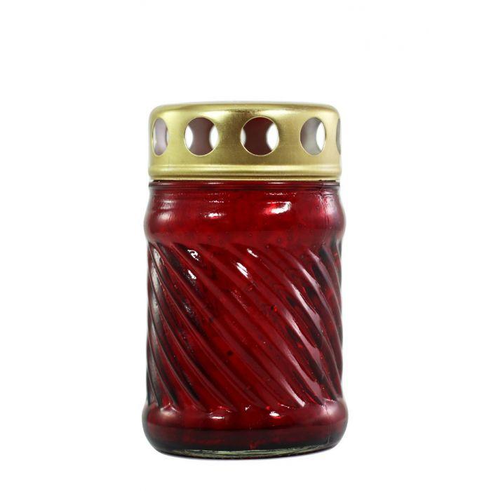 Candela sticla cu capac rosie dreapta 50-1S R