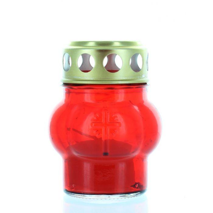 Candela sticla cu capac rosie rotunda 10h 40-0