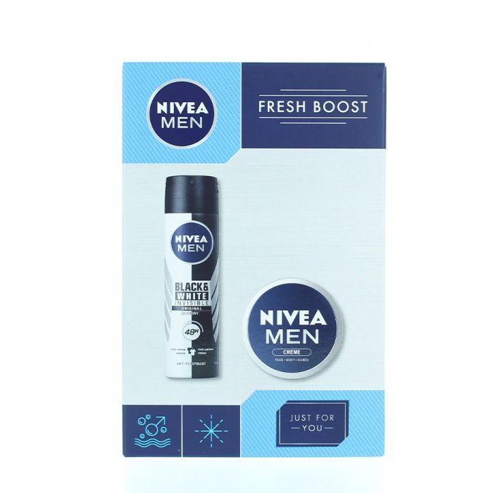 Nivea Caseta barbati:Spray deodorant+Crema fata 150+75 ml Fresh Boost