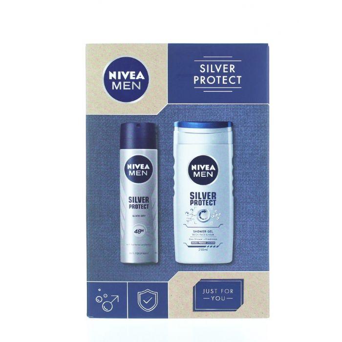 Nivea Caseta barbati:Gel de dus+Spray deodorant 250+150 ml Silver Protect