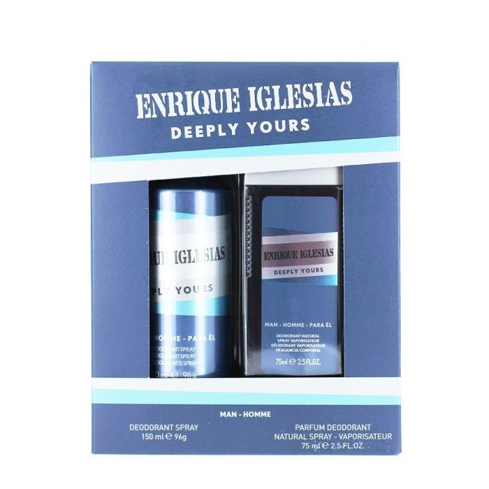 Enrique Iglesias Caseta barbati:Spray natural+Spray deodorant 75+150 ml Deeply Yours