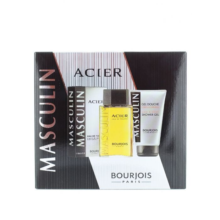 Bourjois Caseta barbati:Parfum+Gel de dus 100+150 ml Acier