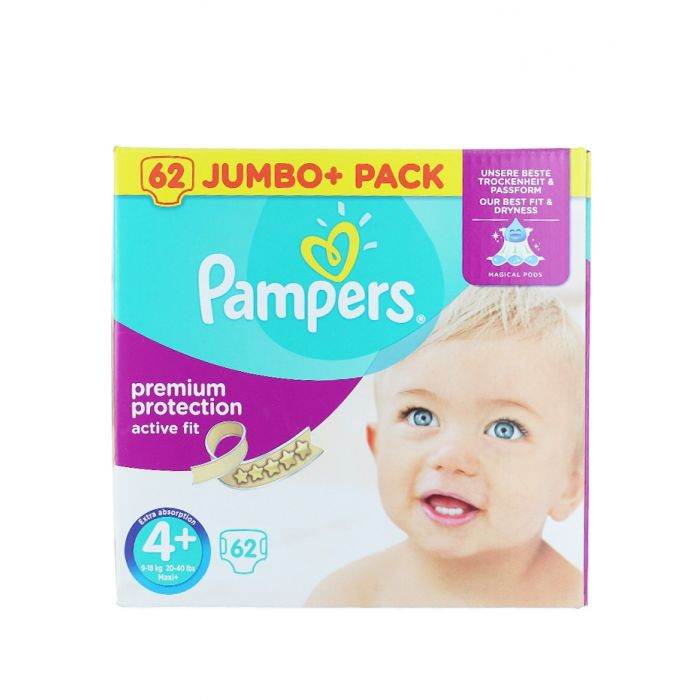 Pampers Active Fit 4+ Maxi+ 9-18 kg 62 buc Premium Protection