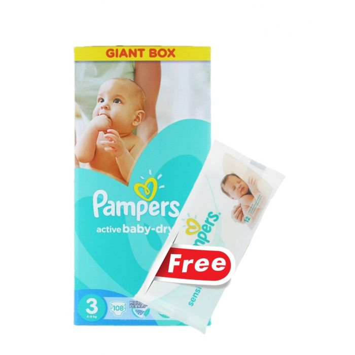 Pampers Active Baby Dry nr.3 5-9 kg 108 buc Giant Box+Servetele umede 12 buc GRATIS
