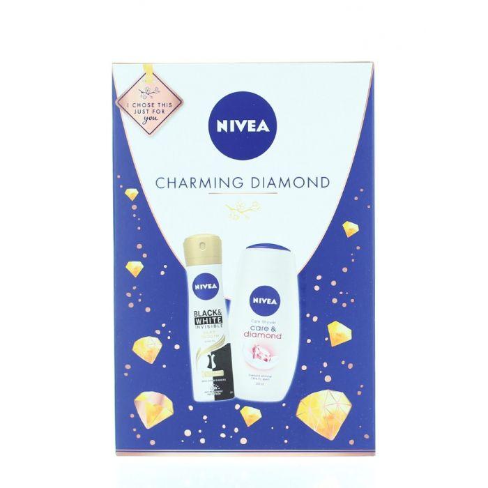 Nivea Caseta femei:Gel de dus+Spray deodorant 250+150 ml Charming Diamond