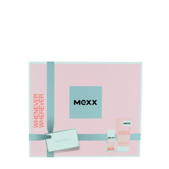 Mexx Caseta femei:Parfum+Gel de dus 15+50ml Whenever Wherever
