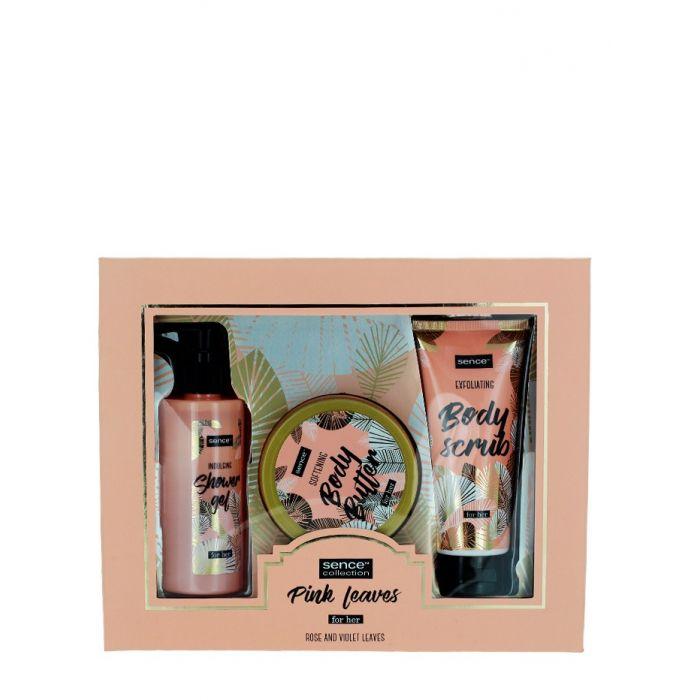 Sence Beauty Caseta femei:Gel de dus+ Unt de corp+ Scrub 200+200+150 ml Pink Leaves