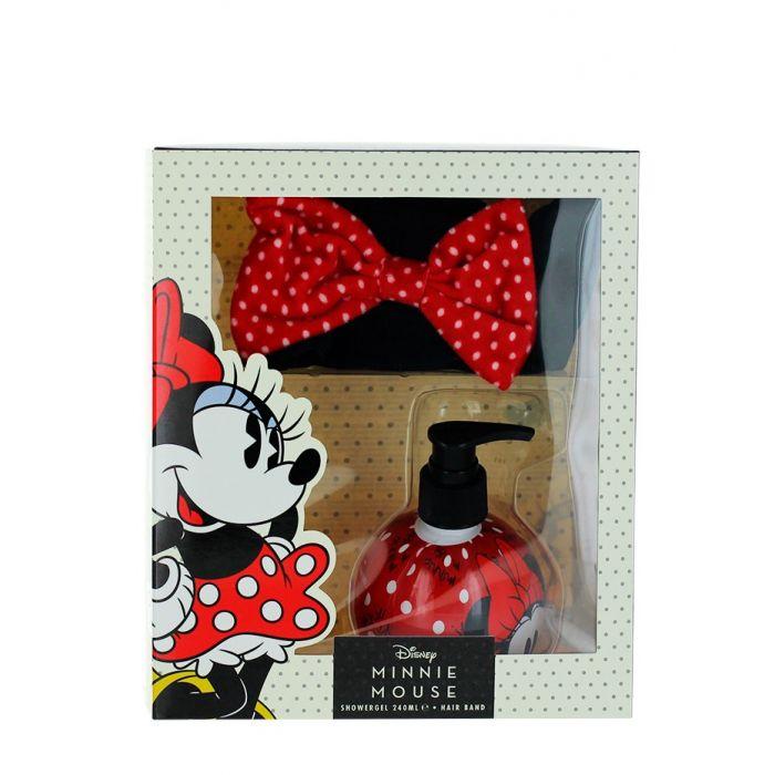 Disney Minnie Mouse Caseta copii:Gel de dus cu pompa+Bentita cosmetica 240 ml