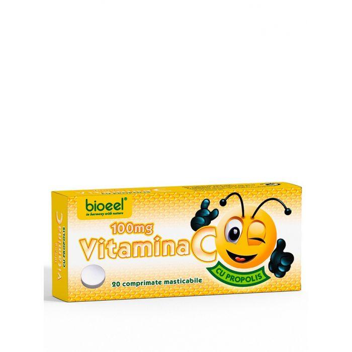 Bioeel Vitamina C 100 mg 20 comprimate masticabile cu aroma de propolis