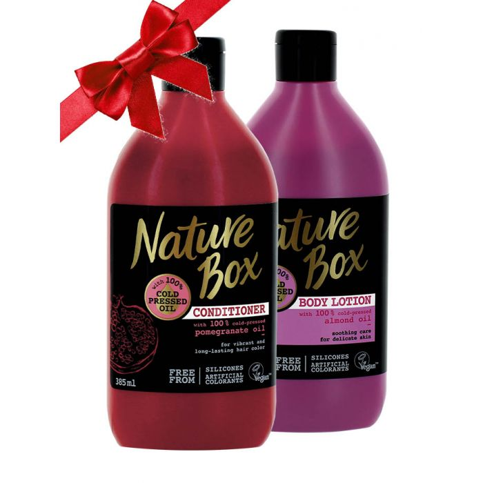 Nature Box Balsam de par 385 ml Pomegranate Oil + 1Nature Box Lotiune de corp 385 ml Almond Oil