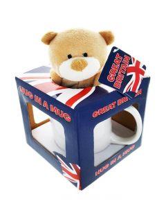 Cana Union Jack cu ursulet in cutie cadou 1 buc