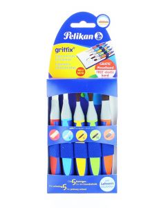 Pelikan Set 5 Pensule Griffix (Varf Lat:12,6+Varf Rotund:6,10+Virf Limba De Pisica:10)