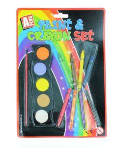 Set acuarele+ creioane cerate 5+8 buc
