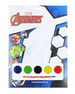 Marvel Set de colorat cu acuarele 4 foi de colorat+5 acuarele+pensula Avengers
