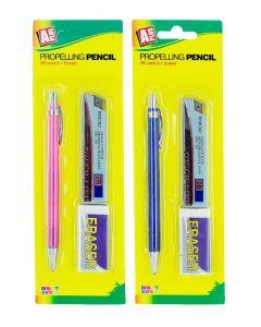 Set Creion mecanic ( Creion+ rezerva mine grafit 0.5 HB+ Radiera) diverse culori