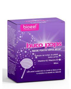 Bioeel Buco Pops-Magie pentru gatul iritat 12 acadele cu aroma de zmeura