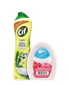 PROMO Cif crema abraziva+At Home gel odorizant camera 500 ml+150 g
