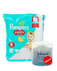 PROMO Pampers scutece chilotel nr.4  9-15 kg 24 buc+Johnson's Baby Betisoare igienice 200 buc GRATIS