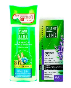 PROMO Plant Line Crema pentru ochi 20 ml 55+ Efect de lifting+ Sampon fara silicon 250 ml Volum