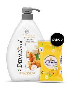 PROMO Dermomed Sapun lichid 1l Almond+Cottonelle Servetele umede 12 buc  GRATIS