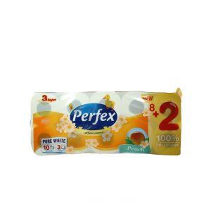 Perfex Hartie toaleta 3 straturi 120 foi 10 buc Piersic