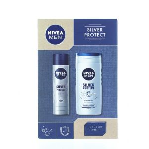 Nivea Caseta barbati:Gel de dus+Spray deodorant 250+150 ml Silver Protect