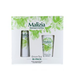 Malizia Caseta femei:Spray deodorant+Gel de dus 150+250 ml Green tea