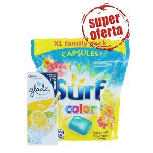 PROMO Surf capsule 45 buc Color Fruity fiesta & Summer flowers+Glade rezerva 10 ml Fresh Lemon