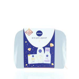 Nivea Gentuta femei:Crema de zi antirid+Crema de maini+Apa micelara+Geanta 50+100+100 ml Q10 Anti-Age Kit