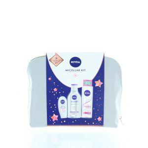 Nivea Gentuta femei:Apa micelara+Sampon micelar+Crema de maini+Geanta 400+400+75 ml Micelar Kit