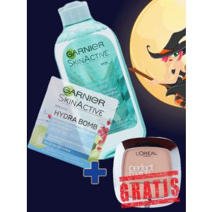 Garnier Crema de fata 50 ml Hydra Bomb+Lotiune Tonica 200 ml Botanische Aloe Vera+L'oreal pudra 9g Rose Sand GRATIS