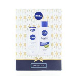 Nivea Caseta femei:Crema de dus+Lotiune de corp 250+400 ml Care For Skin