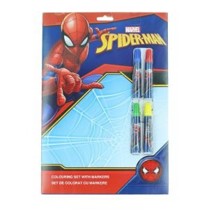 Marvel Set de colorat cu markere 4 foi de colorat+4 markere Spider-Man
