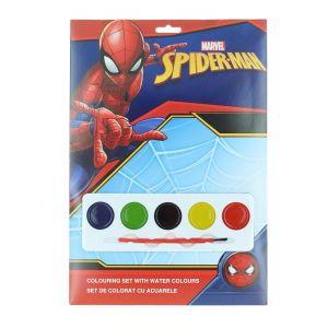 Marvel Set de colorat cu acuarele 4 foi de colorat+5 acuarele+pensula Spider-Man